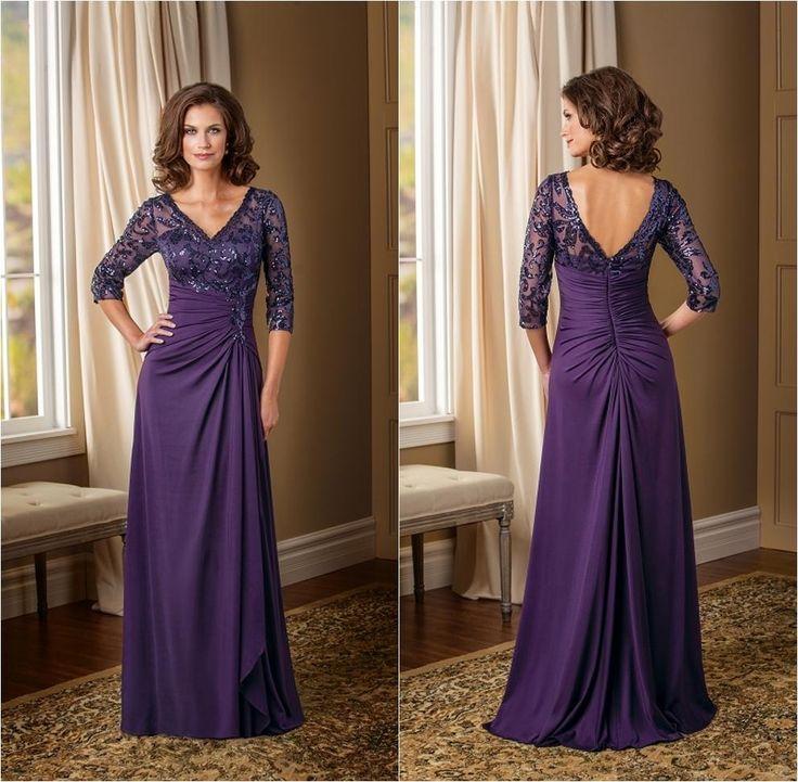 Mother Bride Dresses Sale: Hot Sale Purple V-neck Mother Of The Bride Dresses With 3