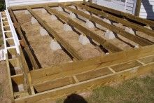 The floating foundation deck Floating deck cinder blocks