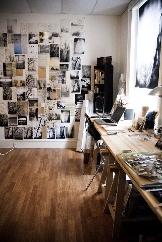 Moodboard wall + workspace