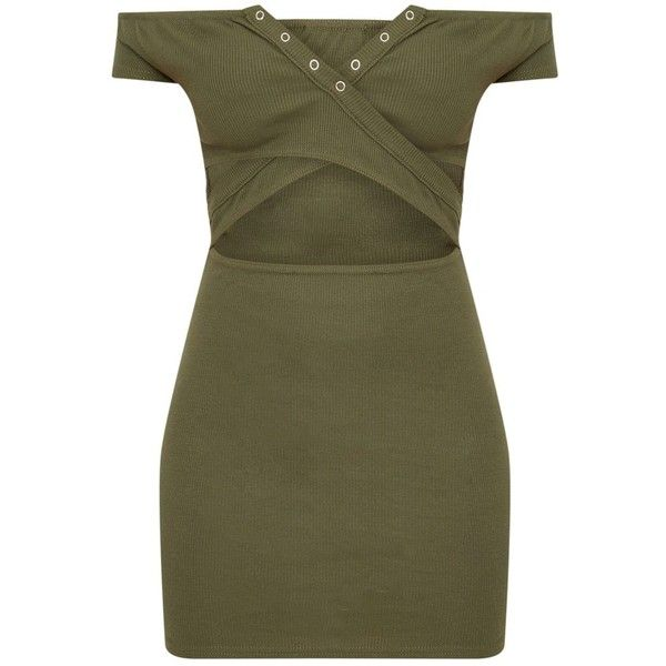 Khaki Ribbed Popper Detail Bardot Bodycon Dress ($28) ❤ liked on Polyvore featuring dresses, ribbed bodycon dress, snap button dress, khaki dresses, body conscious dress and bodycon dresses