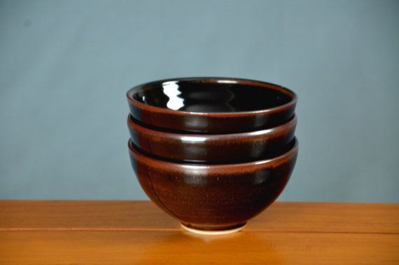 Black Brown Japanese Bowl Set, Hand Thrown Porcelain Pottery, Salad Bowl, Cereal Bowl, Soup Bowl, Ceramic | Caldwell Pottery