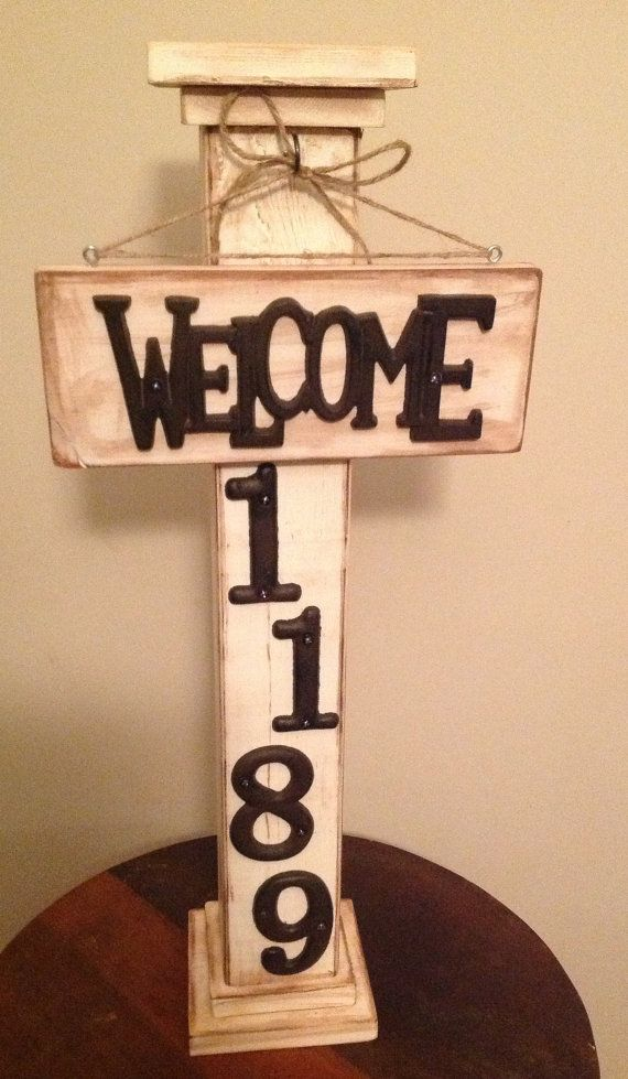 Wooden Post Welcome Sign by SugarGroveCottage on Etsy, $50.00