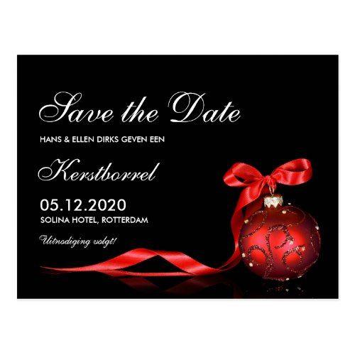 Invitation for Christmas kerstborrel Save The Date Postcard