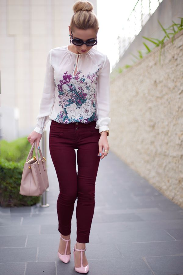 Burgundy Trousers & Floral Blouse :: Sophie's Silhouette
