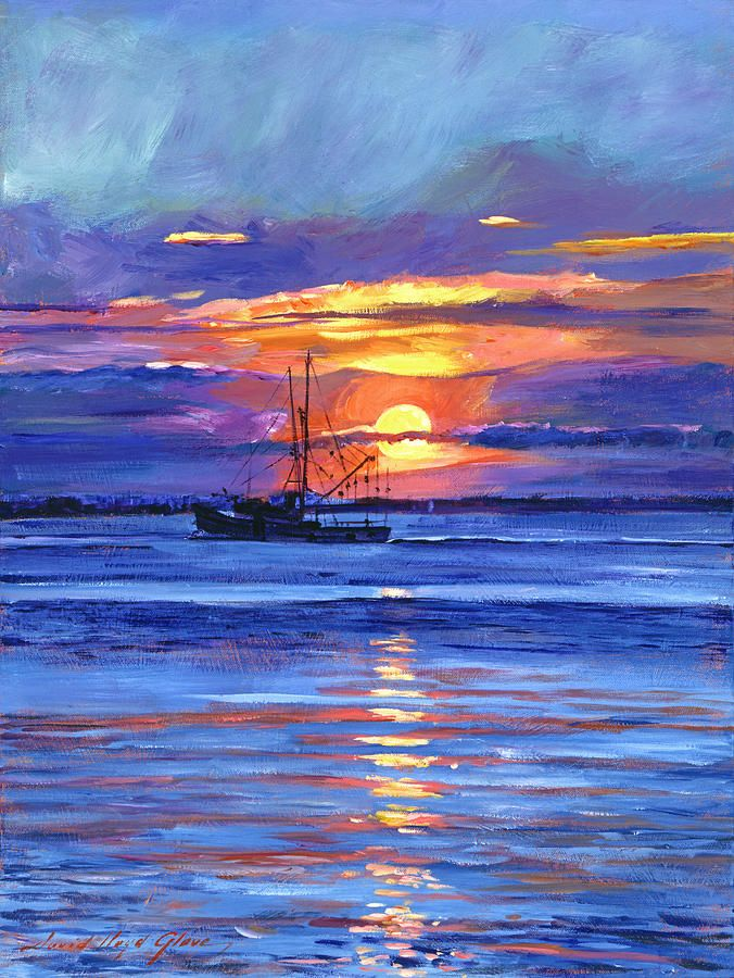 Salmon Trawler At Sunrise Painting Inspiration Sunrise
