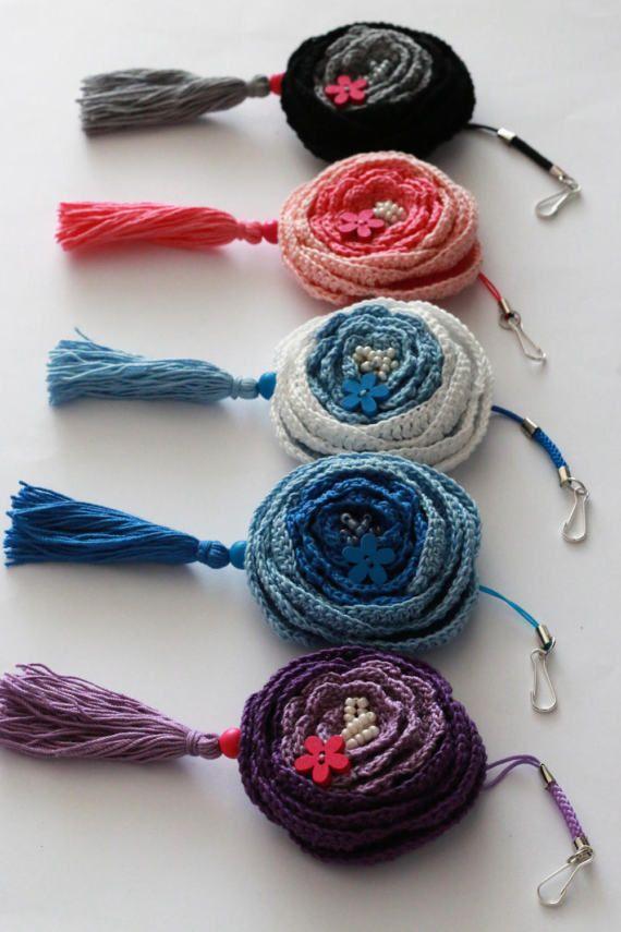 Bag charmCrochet flower tassel ornamentEco-frienndly by UpRo