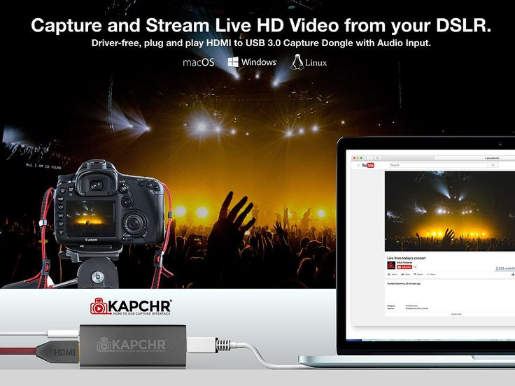 Realtime Video/Audio Capturing and Recording on your Mac, PC or Linux Computer.  KAPCHR takes you beyond your built-in webcam to give your audience broadcast quality video and audio direct from your DSLR, professional video camera, AV mixing board or audio source.