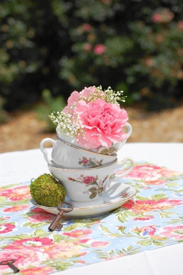 Vintage tea party centerpiece..
