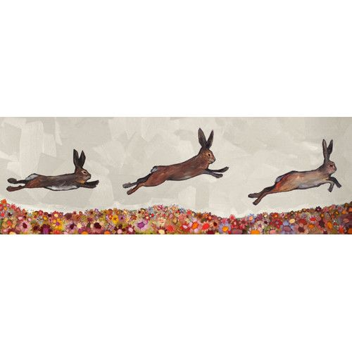 Found it at Joss & Main - 'Bunnies Jumping Over Flowers' by Eli Halpin Painting Print on Wrapped Canvas