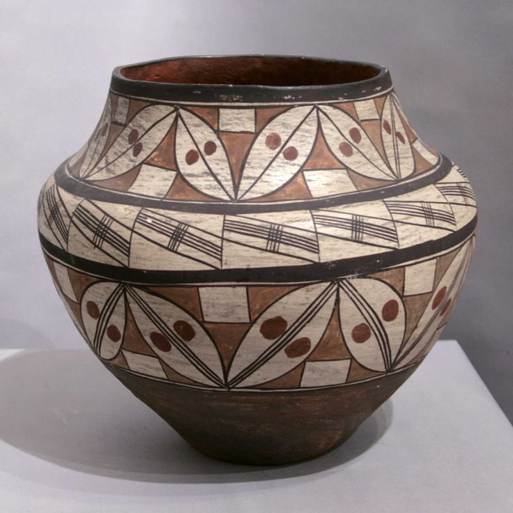 Pueblo:  Acoma  Artist:  Unknown   Date Created: Circa 1900  Dimensions:  9 3/4 in H by 11 1/4 in Dia   Item Number:  mpacm1150  Price:  $ 8400 Description:  Large four color polychrome jar with hairline crack on rim