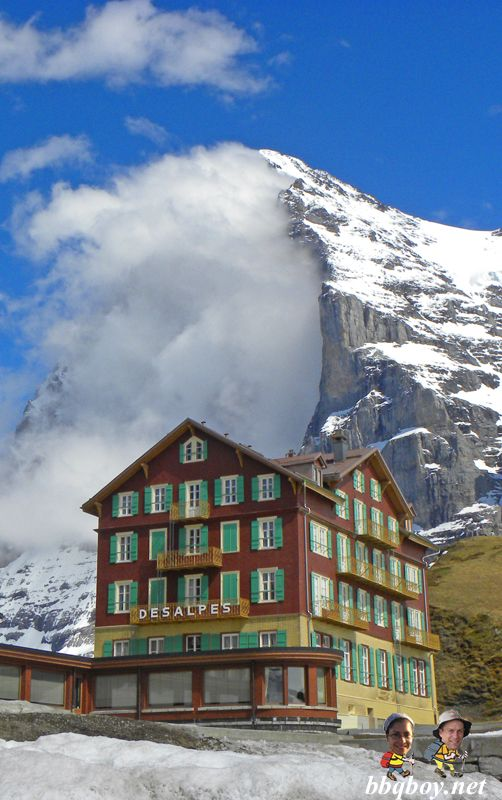 The Eiger, Switzerland. Some great shots of this beautiful area: http://bbqboy.net/great-hikes-and-stunning-views-in-lauterbrunnen-and-the-berner-oberland-switzerland/ #switzerland #lauterbrunnen