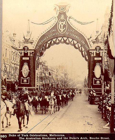 Federation 1901: Roses Stereoscopic Views Duke of York Celebrations, Melbourne 1901 The Australian Stockmen and the Dukes Arch Bourke Street Melbourne Vic Australia