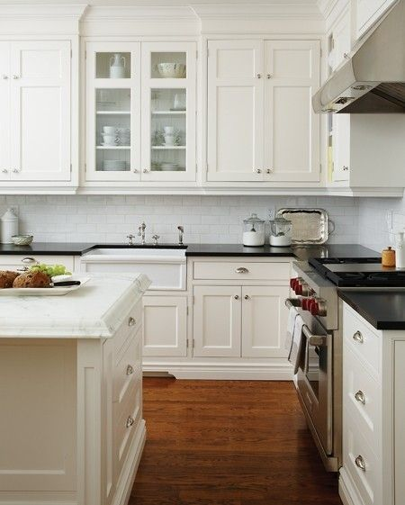 Traditional New England styleGranite Counter, Countertops, Subway Tile, New England Style, Classic White, House, White Cabinets, Black Counter, White Kitchens
