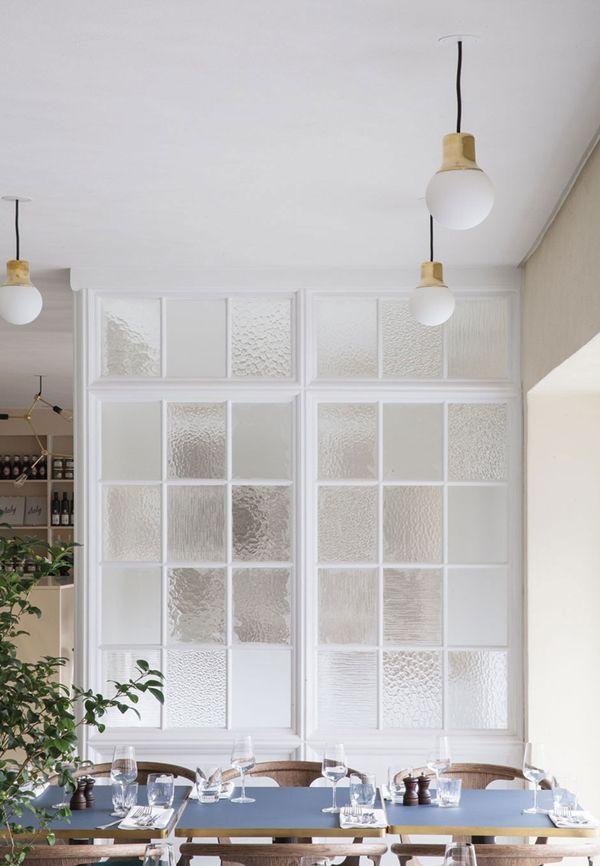 interior window panes add texture to a dining room   via coco+kelley