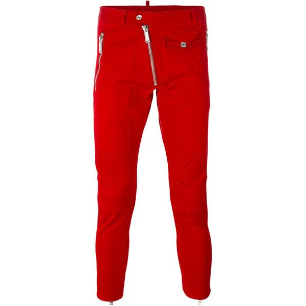 Dsquared2 zip skinny trousers (€755) ❤ liked on Polyvore featuring men's fashion, men's clothing, men's pants, men's casual pants, red, mens skinny pants, mens elastic waistband pants, mens red pants, mens zipper pants and mens zip off pants
