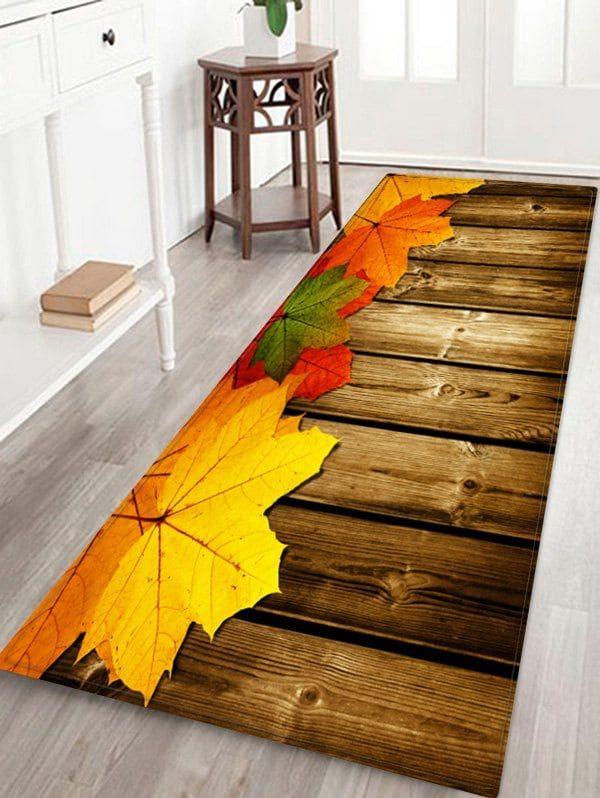 Maple Leaf Wooden Print Water Absorption Floor Rug Floor Rugs Wooden Prints Rugs On Carpet