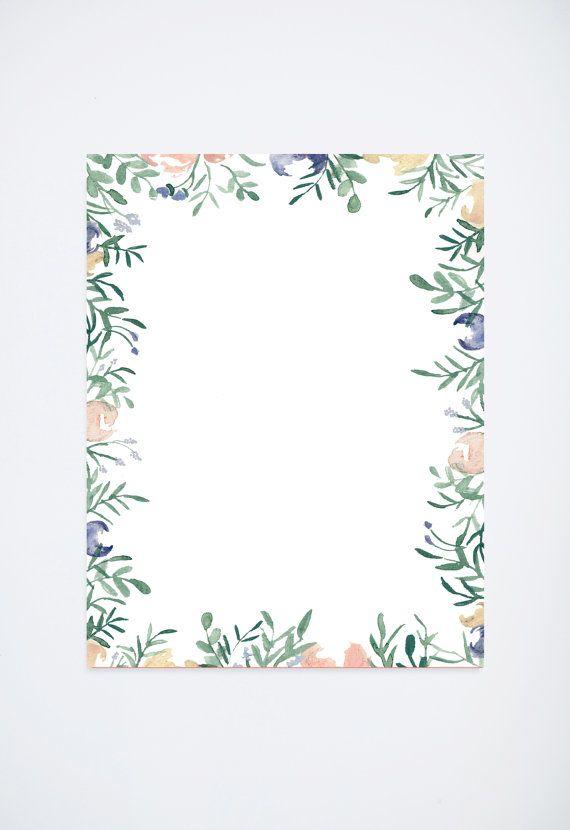 Aquarel bloemen grens - Pantone - roze en blauw - briefpapier & toebehoren voor kantoor-