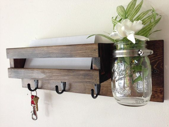 Rustic mail organizer key rack with mason jar by TreetopWoodworks