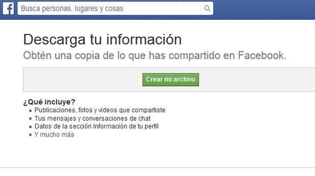 Facebook te permite descargar todos tus archivos
