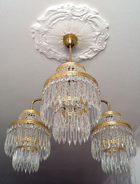 Antike Decken-Hänge-Lampe-Lüster-Kristall 1940 von artelumine auf DaWanda.com