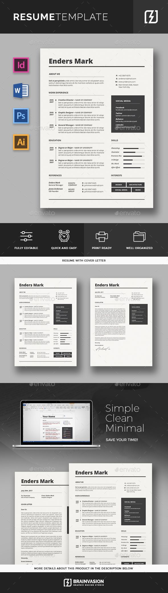 Resume Template by Brainvasion FeaturesA4 size Print Ready (CMYK) 300Dpi 100 Fully Resizeable Oraganized Layers With Bleeds Free icons using Fontawesome All col