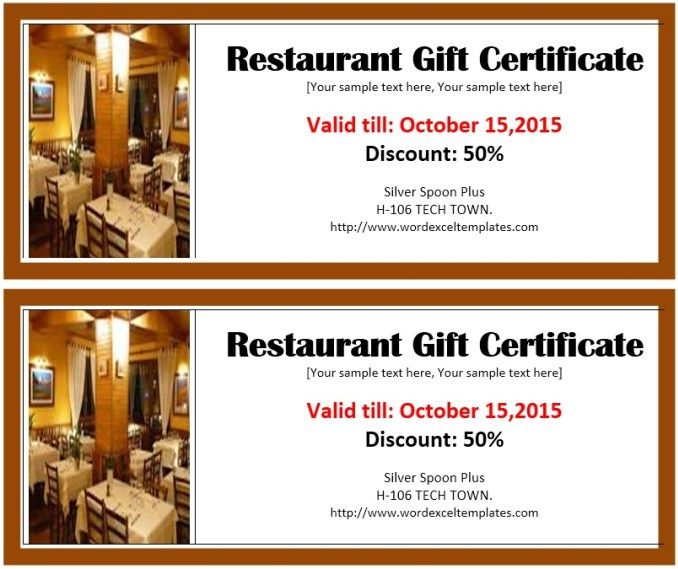 Hotel Voucher Template. Gift Certificate Template WordRestaurant ...  Gift Voucher Templates Word