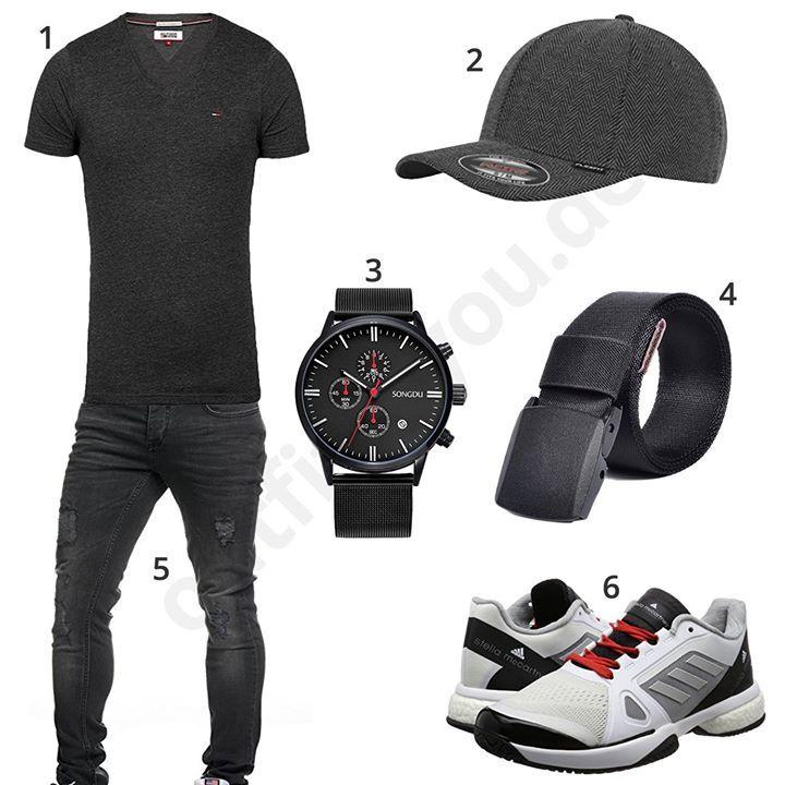 Schwarzes Herren-Outfit mit Tommy Hilfiger Shirt, Flexfit Cap, Songdu Armbanduhr, Veasti Stoffgürtel, Tazzio destroyed Jeans und Adidas Schuhe.
