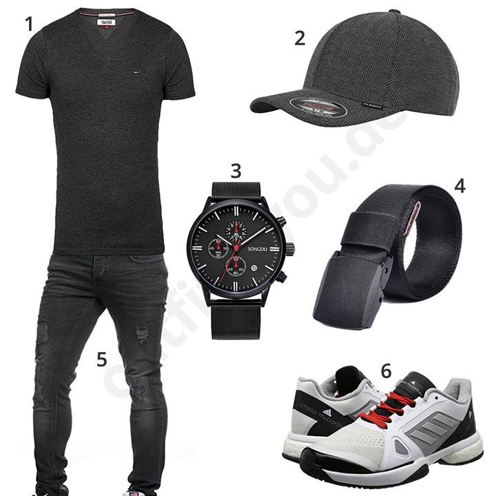 Schwarzes Herren-Outfit mit Adidas Schuhen (m0373) #outfit #style #fashion #menswear #mensfashion #inspiration #shirt #cloth #clothing #männermode #herrenmode #shirt #mode #styling #sneaker #menstyle
