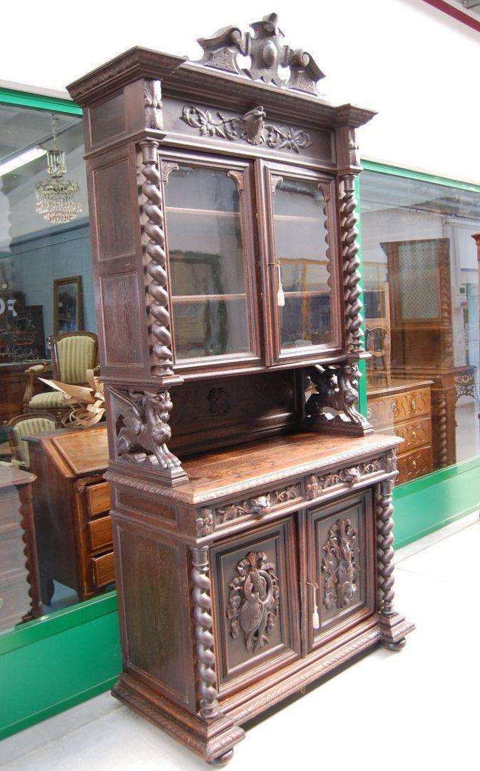 Credenza vetrina in rovere massello 39 800 stile luigi xiii for Mobili 800 italiano