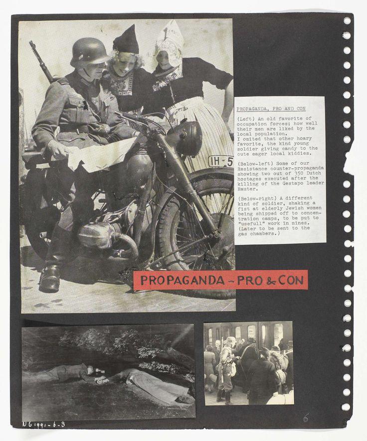 Anonymous | Drie gezichten van de bezetter, Anonymous, Nederland Archief, 1940 - 1945 | Drie foto's die drie aspecten vertonen van de Duitse bezetter:Foto l.b. Een Duitse soldaat in gesprek met twee Volendammer meisjes. Foto l.o. Twee geëxcecuteerde gijzelaars.Foto r.o. Duitse soldaat beveelt Joodse Nederlanders de trein in te stappen.