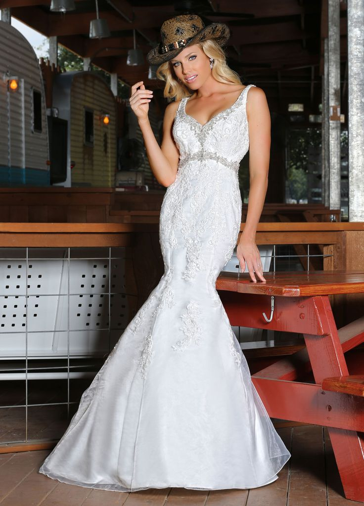 Wishesbridal Beading V Neck Organza Trumpet #Mermaid #WeddingDress Ada0011