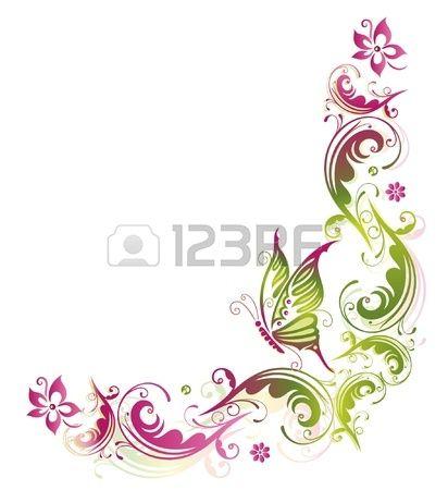 Fiore, Estate, farfalla, verde, Vector rosa