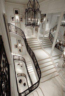 Ralph Lauren's Madison Avenue Women's Collection Boutique.  Black. White. Entry.  Staircase