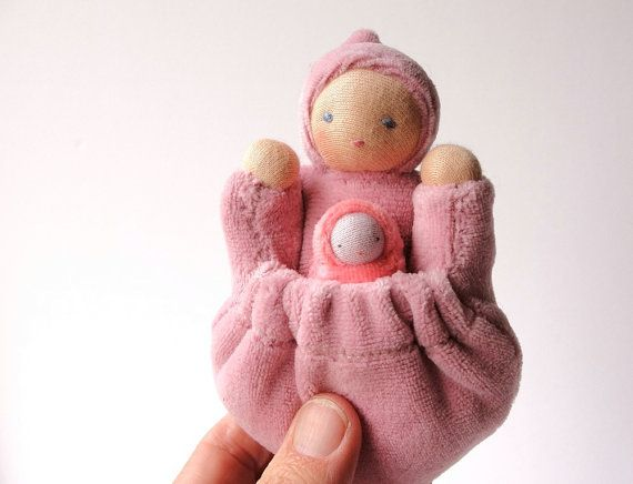 Waldorf Doll with Baby Bunting - Pink