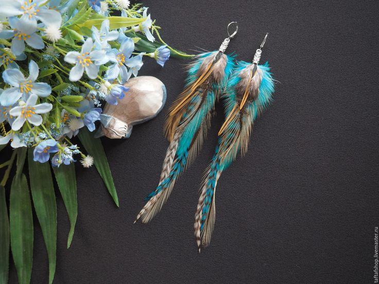 Богиня Нут - бирюзовые серьги с натуральными перьями в стиле бохо - серьги с перьями