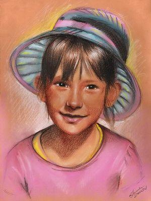 portret w kolorze, technika mieszana