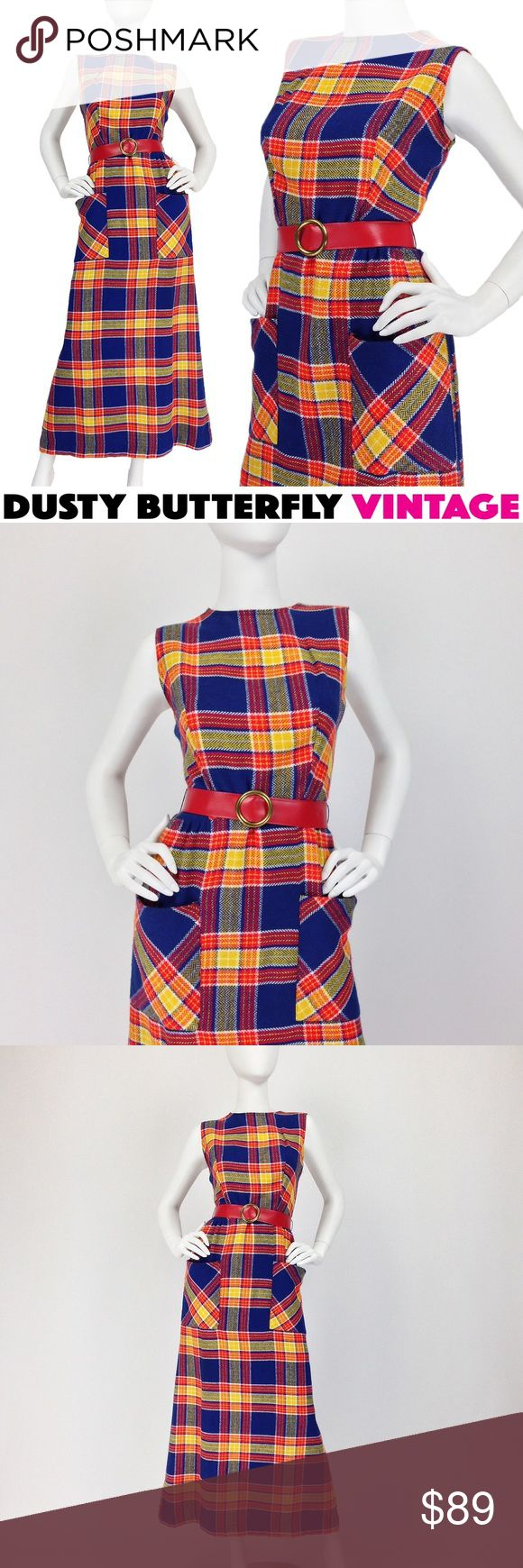 VINTAGE 70s PLAID DRESS Wool MAXI Americana Awesome 'wool' maxi dress in such a classic 70s plaid! W/ big pockets + red vinyl belt it just doesn't get more 70s than this… <3!  •Big front pockets •Original red vinyl belt w round gold-tone buckle •Rear metal zip •100% acrylic (looks & feels like wool) •No brand tag •Very good - excellent vtg condition  Vtg size 11. Best modern fit: M •Bust:37 •Waist:30 •Hips:42 •Length:55  💟Suggested User 💟Top Rated Seller 💟Fast Shipping 👥Instagram…