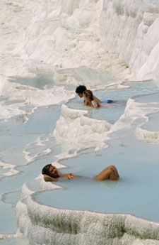Relaxing in Thermal Pools in Pamukkale, Turkey