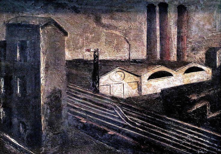 Urban landscape with chimneys. 1930 - MARIO SIRONI 1885-1961    #TuscanyAgriturismoGiratola