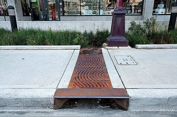Grate directs stormwater from sidewalk to bioswale in Victoria BC. Photo: Dylan Passmore. Click image for more photos and visit the slowottawa.ca boards >> https://www.pinterest.com/slowottawa/boards/