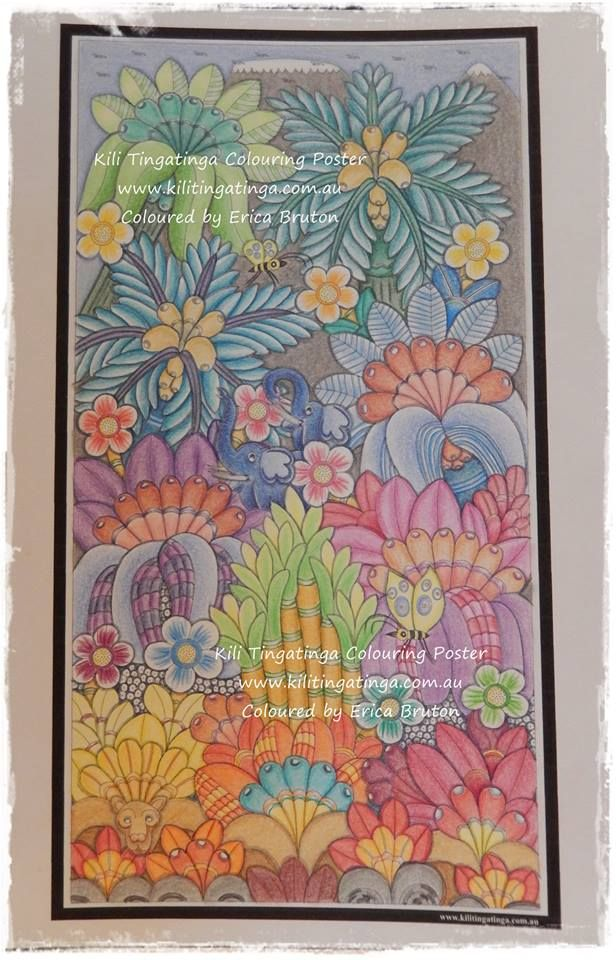 Kili Kolours completed by Erica Bruton Available for purcahse at www.kilitingatinga.com.au  ideal for #ink, #paint, #pencil and #watercolour. #Adultcolourining #colour-in #aduld #relax #africanart #giveback #stockingfllers #coloringforadults #drawing #ink #drawings #Coloring book #floraldesign