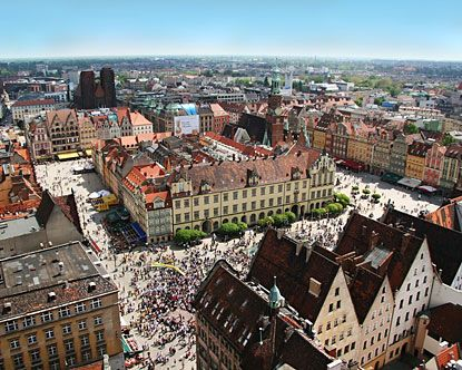 Wroclaw, Poland is a city located in the southwestern corner of Poland built on numerous islands which are connected by over 100 bridges. Wroclaw began its existence in the 10th century.