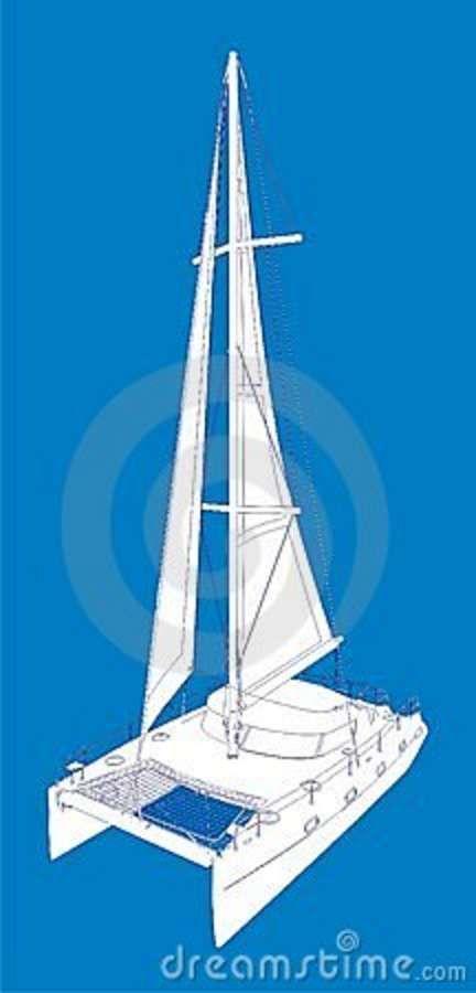 Catamaran Boat Vector Drawing Look Like Paint Stock Photography - Image: 9962902