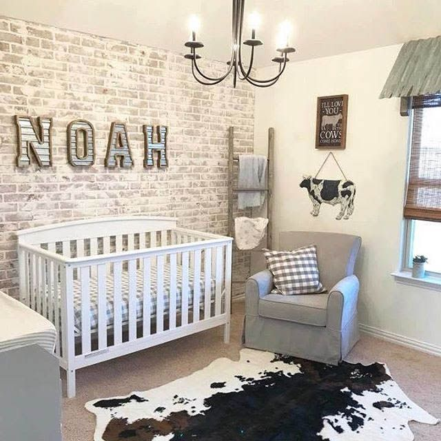 Brick Accent Wall In Nursery With Cow Theme