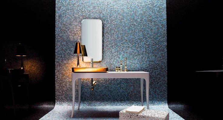 Particolare bagno con mosaico Bisazza