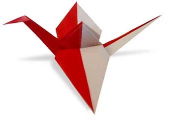 Origami Red and White Crane2