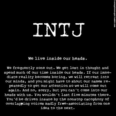 Personality- being INTJ - This is me to a T!  Fear the anarchy in my head!
