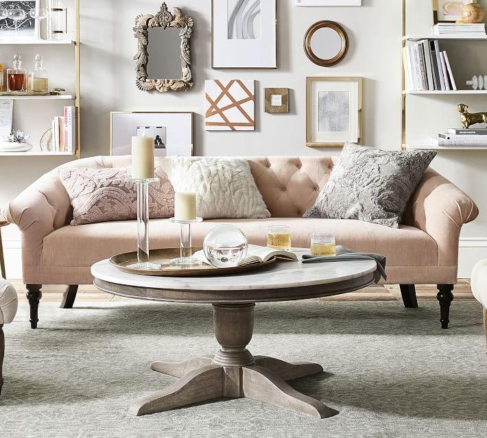 Gorgeous blush velvet upholstered sofa - velvet is one of 2018's top home decor trends!
