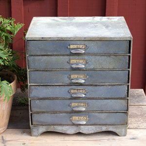 Arkivskåp i zink med 6 lådor-
