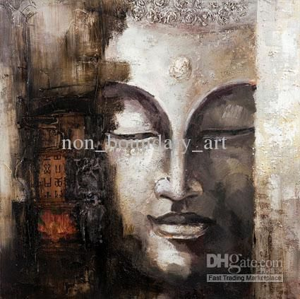 -Oil Wall Art,Wall Canvas Art,Modern Abstract Asian Buddha Canvas Oil Painting:BU#018